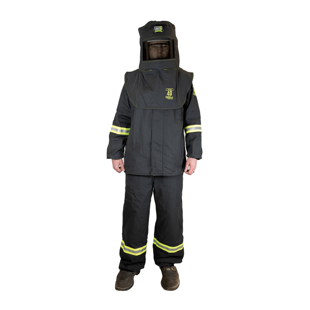 40 Calorie TCG™ Arc Flash Kit (Hood, Coat, and Bib with Light & Vent), 40 Calorie Arc Flash PPE, Arc Flash 40 Cal Suit