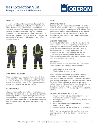 Gas Extraction Suit User Guide