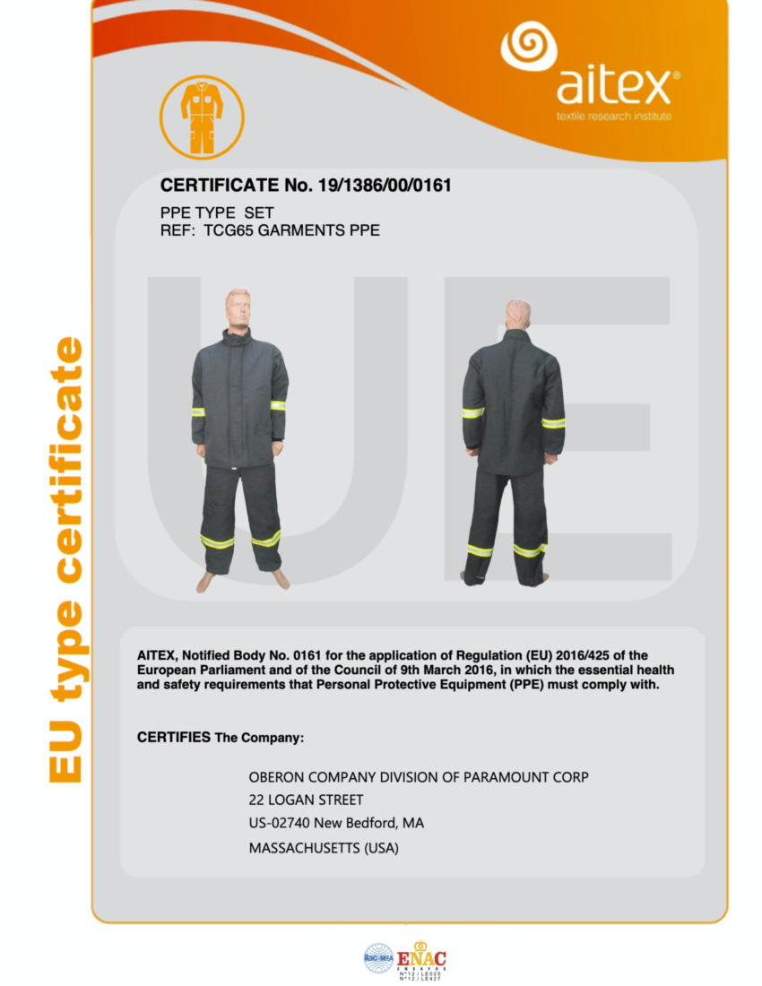 TCG65 CE Certificate Coat and Bib
