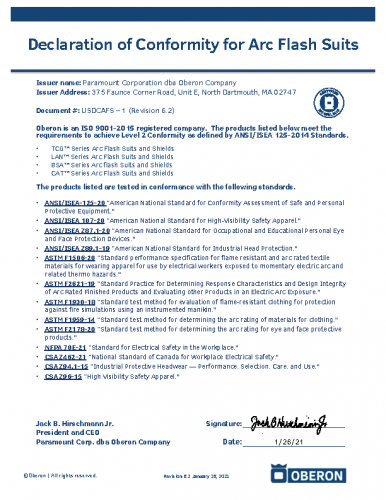 Declaration of Conformity for Arc Flash Suits