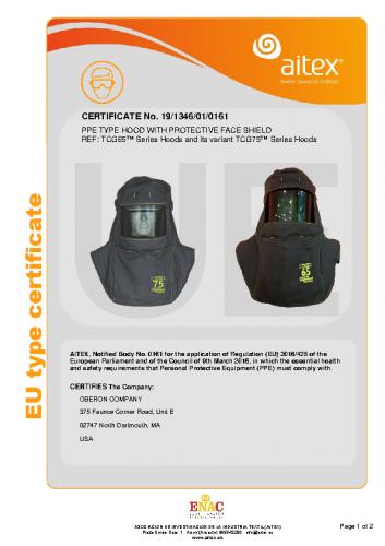 TCG65™ & TCG75™ Series Hood CE Certificate