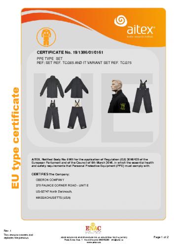 TCG65 & TCG75 CE Certificate Coat & Bib