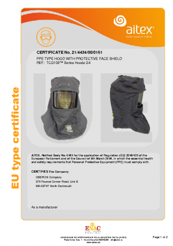 TCG100-CE-PPE Type Hood with Protective Face Shield